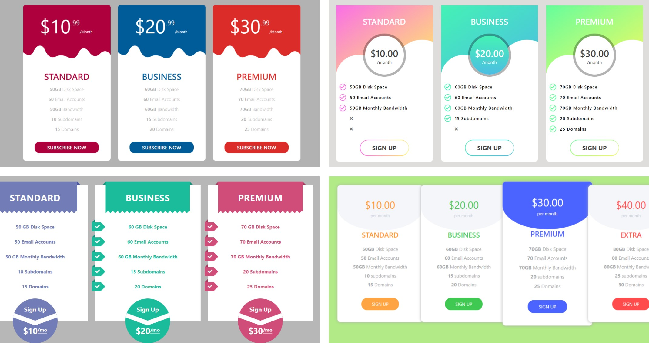 Bootstrap 5 Pricing Table