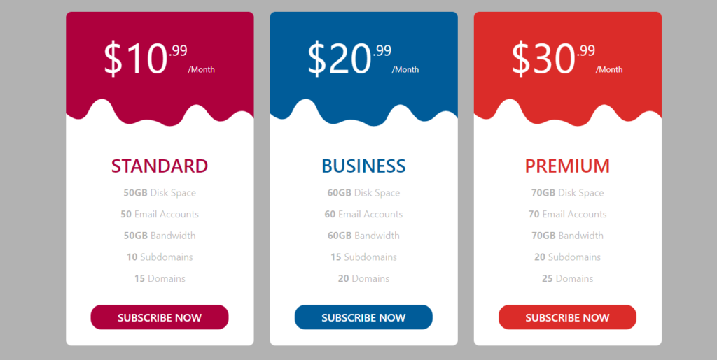Responsive Bootstrap 5 pricing table template