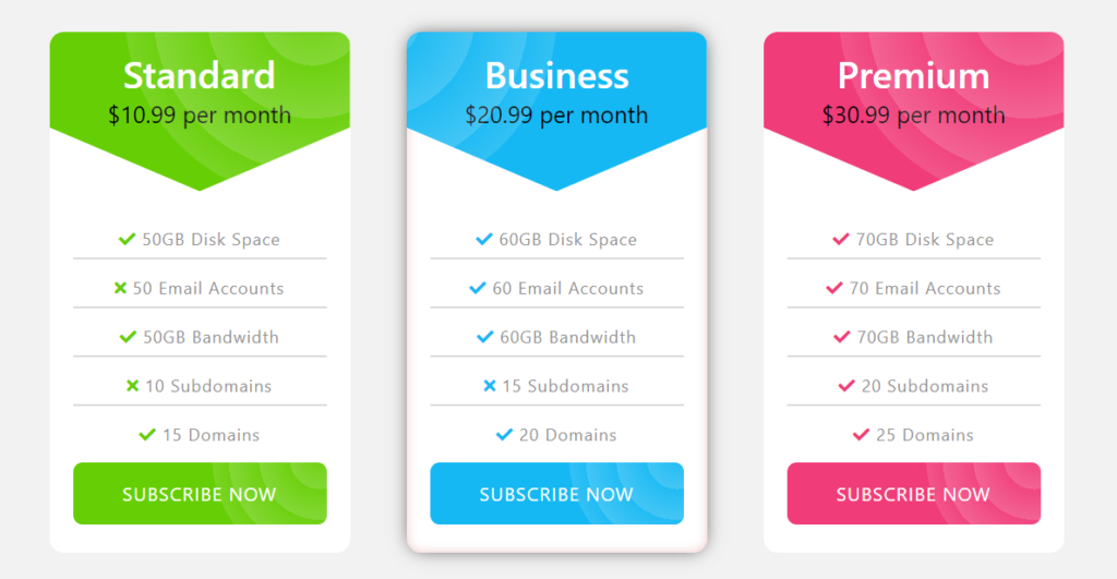 Creative Bootstrap 5 pricing table example