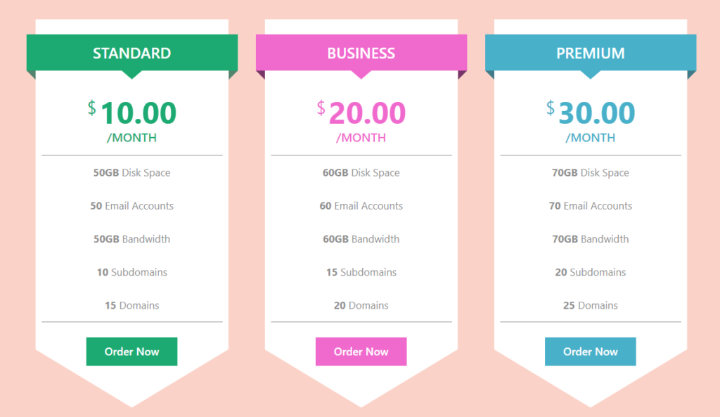 Pricing table template free download