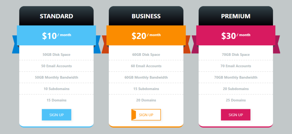 Bootstrap CSS Pricing Table Template Free